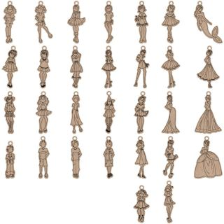 imagen Julie Nutting Mixed Media Laser-Cut Wooden Doll Shape (30 pcs)